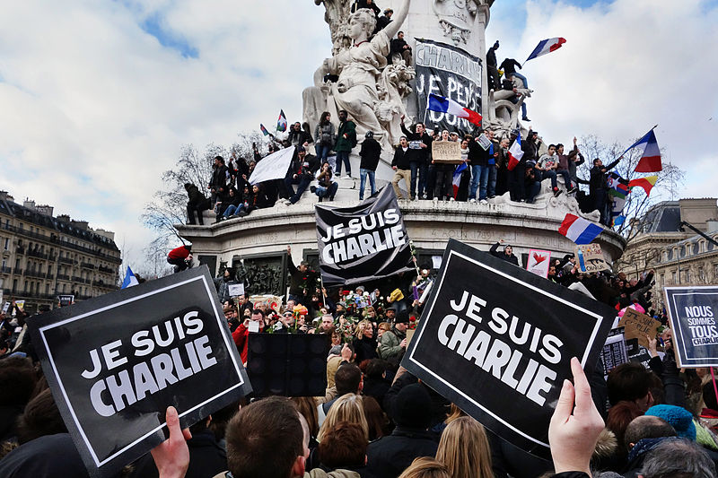 Paris rally in support of the victims of the 2015 Charlie Hebdo shooting, 11 January 2015. Place de la Republique.  Photo: Olivier Ortelpa.