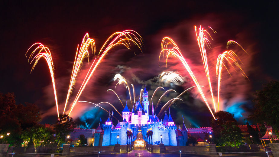 RF123-34360818 - hong kong disneyland, november 24, - cinderela castle and the famous stars firework show every night of disneyland, hong kong 2014