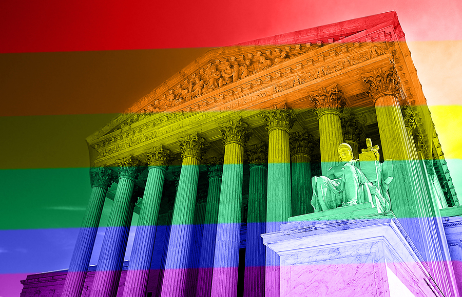 bigstock--125306099  The United States Supreme Court with LGBT rainbow colors -- gay equal rights concept