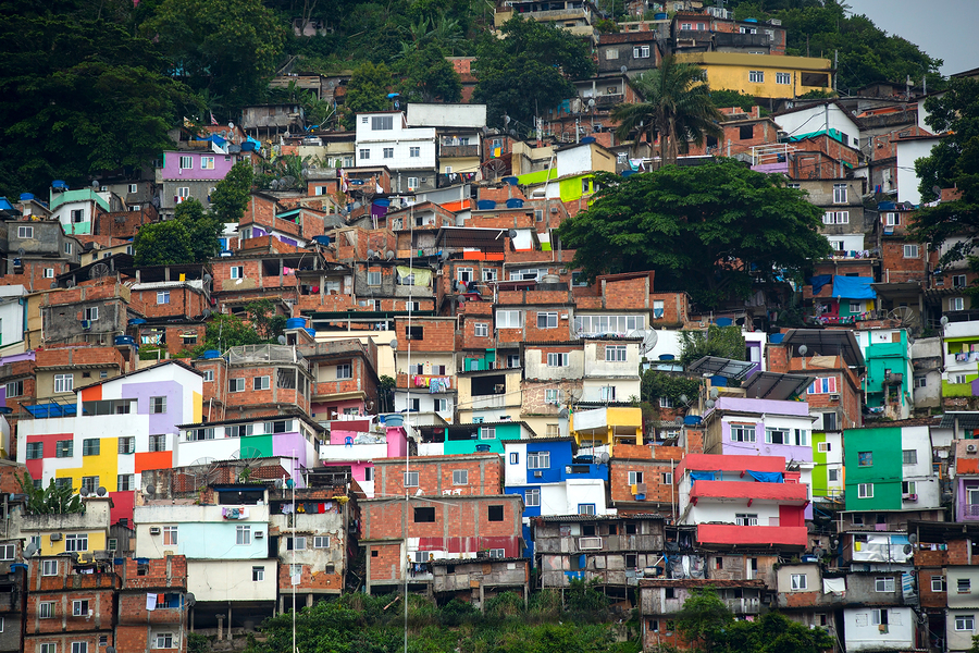 Colorful painted buildings of Favela in  Rio de Janeiro Brazil bigstock-Favela-110435969
