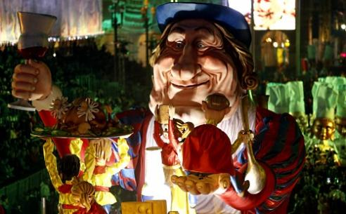 "A float named ""Gargantua's new home"" featuring French actor Gerard Depardieu parades during the Nice Carnival parade in Nice  Photo courtesy: AFP"