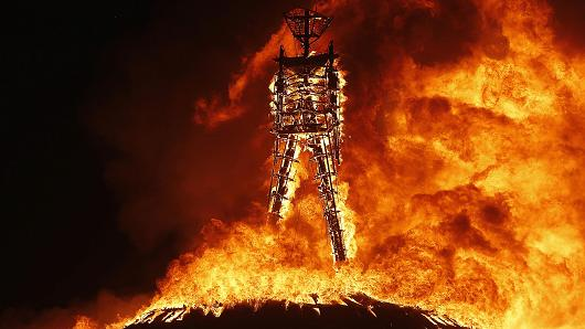 The burning man, from the Burning Man Festival unknown photographer