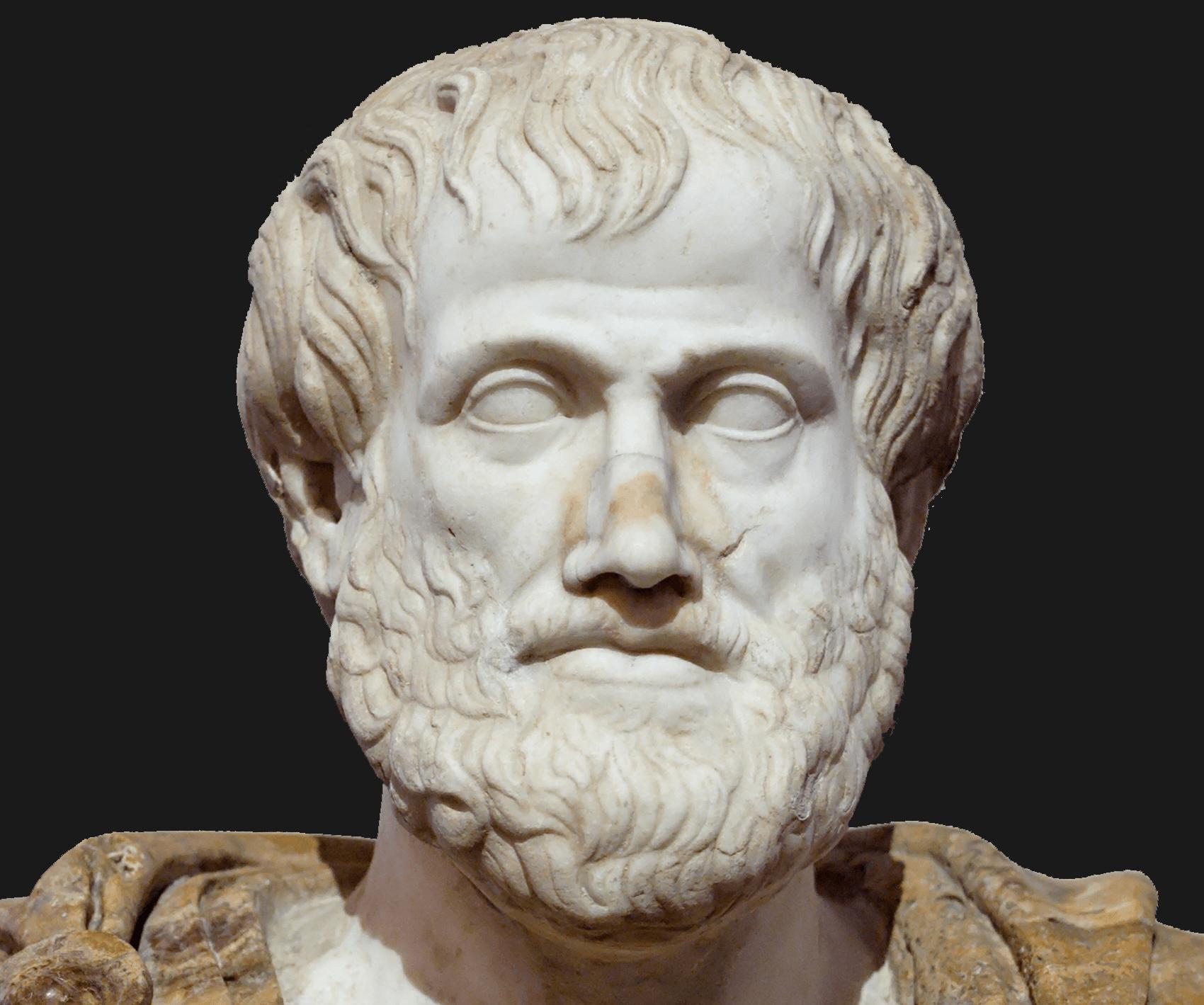 """אריסטו, פרוטומה משיש, העתק רומי של יצירה מאת ליסיפּוֹס מסביבות 330 לפנה""""ס"""