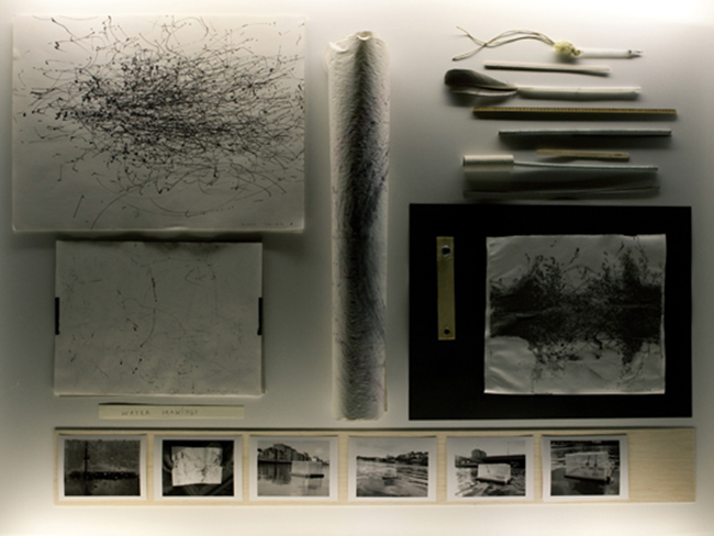 NIKOLAUS GANSTERER Installation view,  Traces of Spaces, Detail, water drawings, 2010/11