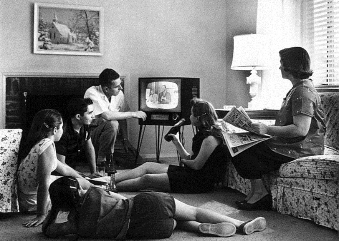 Family watching television, c. 1958. Source: Wikimedia Commons (National Archives and Records Administration) by:Evert F. Baumgardner