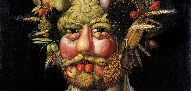 "Giuseppe Arcimboldo, ""Vertumnus (Portrait of Rodolfo II)"", c.1590. Oil on panel, Skokloster Castle (Sweden)"