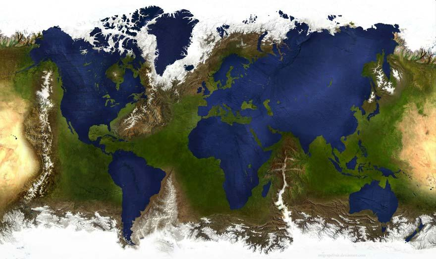 Inverted land/ocean map http://matadornetwork.com/life/57-worlds-interesting-maps/