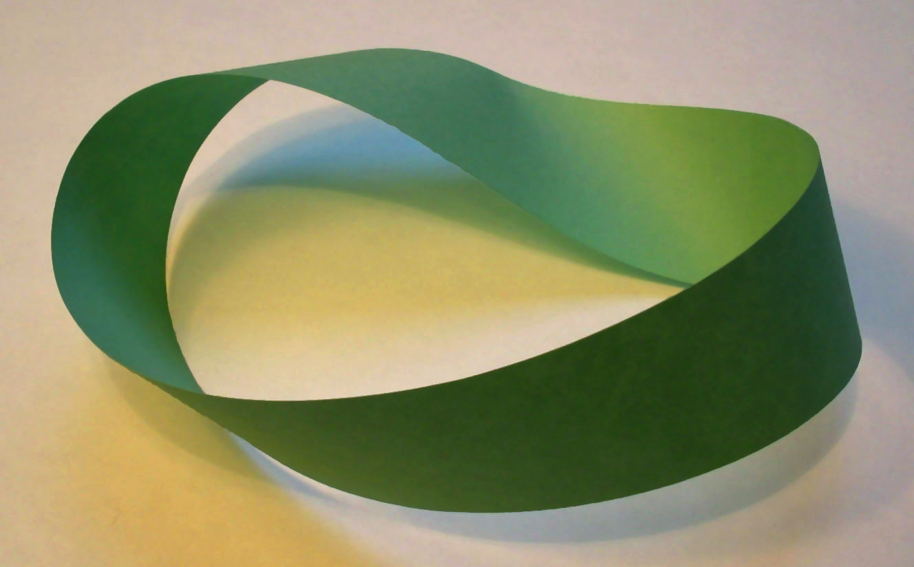 "Möbius_strip A photograph of a green paper Möbius strip. David Benbennicktook this photograph on March 14, 2005. For scale, the strip of paper is 11 inches long, the long edge of a U.S. standard piece of ""letter size"" paper. The background is a piece of white paper. The strip is held together by a piece of clear duct tape, behind the top-right curve."