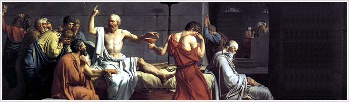 The Death of Socrates, oil on canvas, painted by Jacques-Louis David in 1787