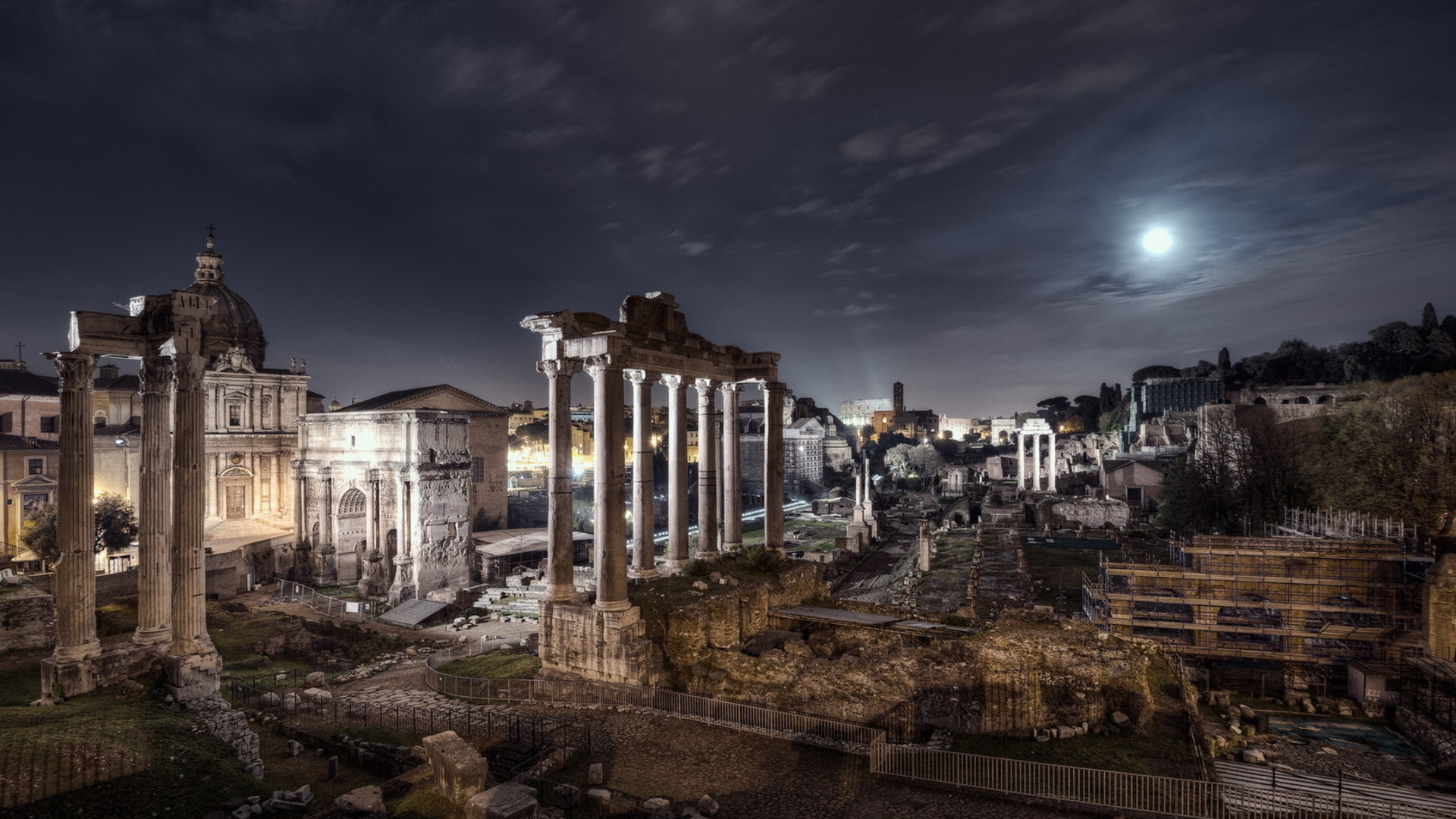 Ancient Ruins In Rome Under Moonlight HD Desktop Background