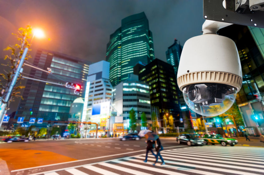 RF123 - 28109306 - cctv camera or surveillance operating on street and building at night