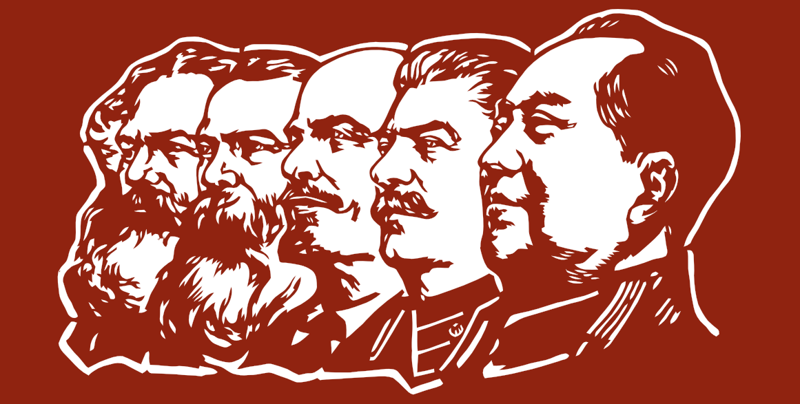 """""""האבות המיסדים"""" של הקומוניזם: מרקס, אנגלס, לנין, סטאלין, מאו"""