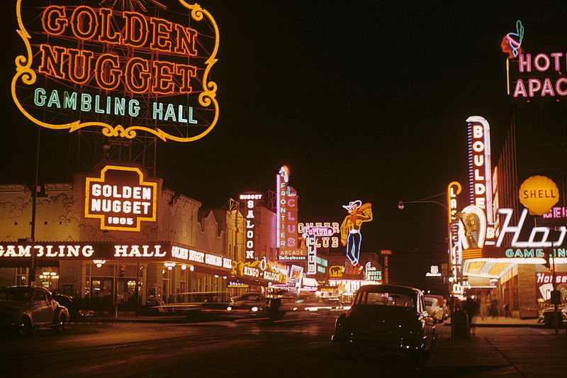 Golden Nugget and Pioneer Club along Fremont Street in 1952 Photo: 	Edward N. Edstrom.  Source: Wikimedia Commons