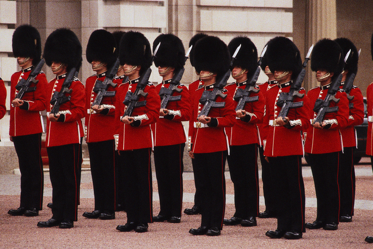 Members of the Royal Life stand in formation carrying bayonets and wearing their traditional uniforms. Probably London, England, UK source: Fliker Photo Sharing  mdbdkso@aol.com