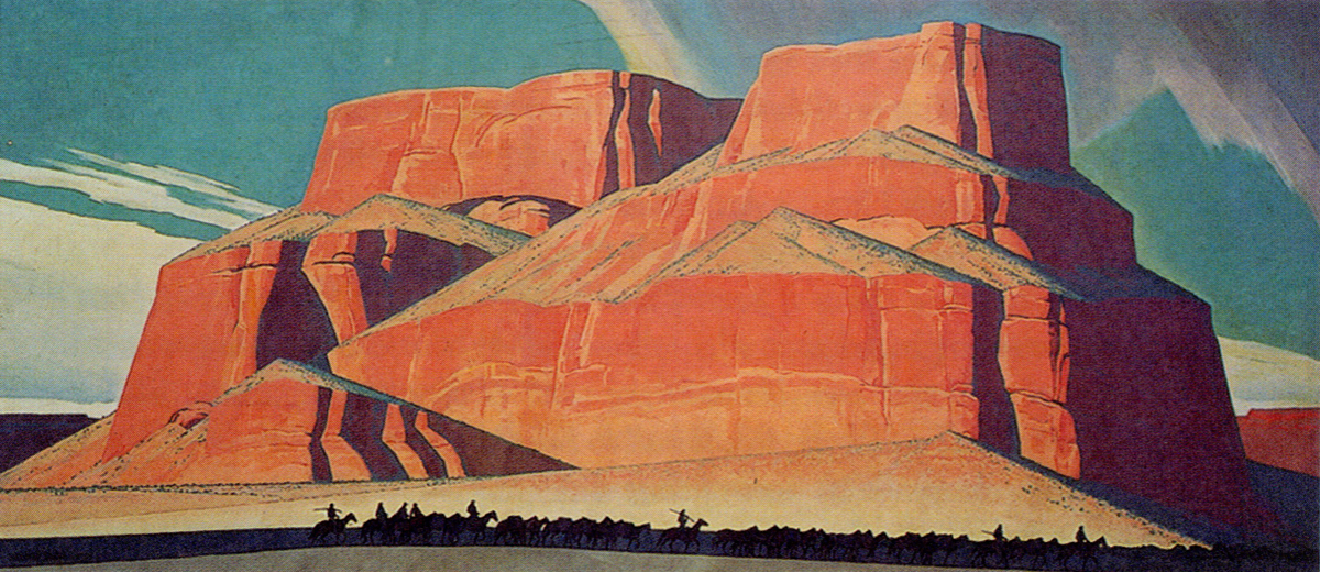 "Maynard Dixon, Red Butte with Mountain Men, 1935, oil on canvas, 95-1/2"" x 213-1/2"