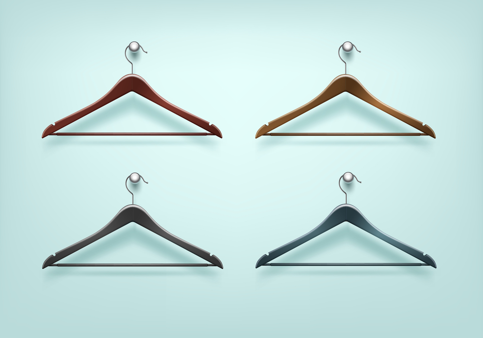 Vector Set of Clothes Coat Wooden Plastic Black Brown Hangers Close Up Isolated on Background bigstock-148947551