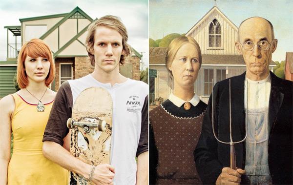 """""""American Gothic,"""" remake par Jesse et John Hunniford, à partir de la toile de Grant Wood"""
